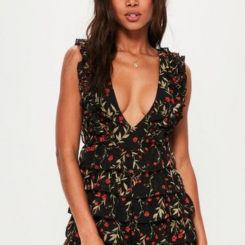 Missguided - Black Floral Multi Ruffle Plunge Playsuit