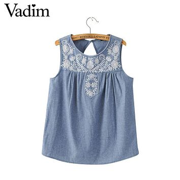 Women elegant embroidery sleeveless denim shirts back hollow out o neck blouses ladies summer streetwear casual tops WT383