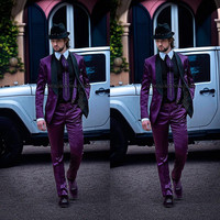 2016 New Italian Mens Suits Purple Jacket with Black Collar Wedding Tuxedos latest coat pant designs men Suits costume homme