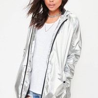 Missguided - Silver Metallic Rain Mac Jacket