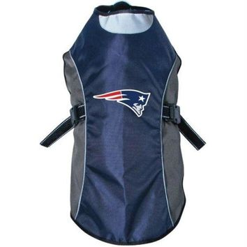 PEAP7N7 New England Patriots Water Resistant Reflective Pet Jacket