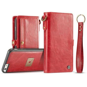 CREYV2S IPhone/Samsung PU Leather Wallet Phone Case Protective Folio Flip Cover with Removable Case & Hand Straps