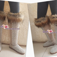 PROMOTION WINTER Knee High Bling and Sparkly Sand / Tan Fur UGG Inspired SheepSkin Wool BOOTS w elegant Pearls and Chanel - ZoeCrystal