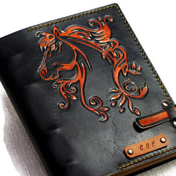 Horse Gift Leather Journal Personalized Journal Notebook Diary Black Leather Custom Journal Gift for Him Gift for Her TiVergy Book