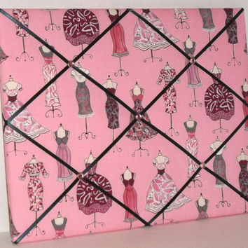 Dress Up Rose Pink fabric ~ French Memo Board by ToileChicBoutique