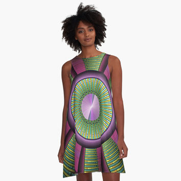 'Round and Colorful Fractal Pattern' A-Linien Kleid by gabiwArt