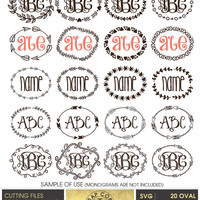 20 Tribal Hand Drawn Monogram Frames, SVG, eps, dxf, PNG, Digital Vector Files for Logo, Invitations, Vinyl Decals, cutting machines, cv-402