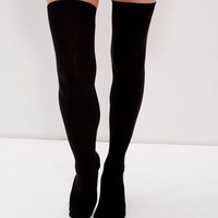 Black Ribbed Over The Knee Socks