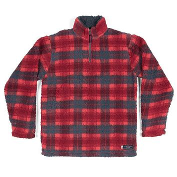 Andover Plaid Sherpa Pullover in Red & Navy by Southern Marsh