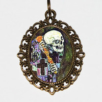 Art Nouveau Skeleton Necklace, Gustav Klimt, Horror, Skull, Spooky, Fine Art Jewelry, Oval Pendant