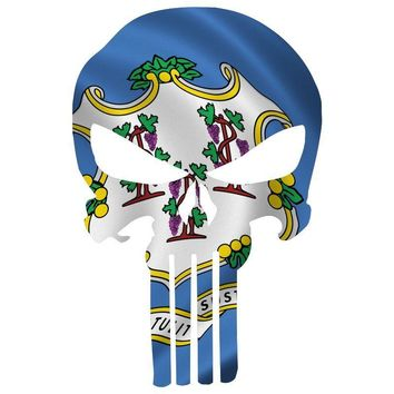 Punisher Skull Connecticut Flag Window Decal Sticker Graphic - Multiple Sizes