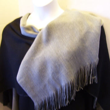 Reversible Sweater Wrap // Shawl // Ruana Coldwater Creek Rich Black // Gray  Cashmere Like Softness