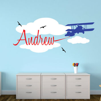 Airplane with Banner Wall Decal, Personalized Airplane, Airplane Decor, Airplane Art, Nursery Name Decal, Boys Airplane Decal