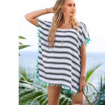 Beach Output Women Swimwear Beach Cover Up, Sheer Swimsuit Cover Up Pareo Beach Wear, Summer Tassel Trim Caftan 9344