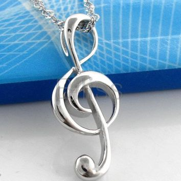 SHIPS FROM USA 2017 Silver Stainless Steel G Treble Clef Necklace Music Note Pendant Necklace For Women Girl Gift collares mujer
