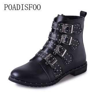 POADISFOO  Black Studded Leather Ankle Boots Buckles Low Heeled High Women Boots Zapatos Mujer Ladies Shoes Size 42 HYKL-6618