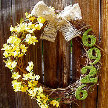 "Personalized 18"" Wreath, Front Door Decor, Burlap Bow Wreath, Moss Wreath, Etsy Wreath, Spring Wreath"