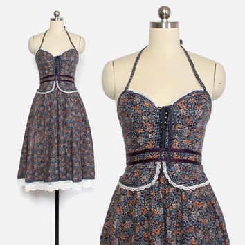 Vintage 70s GUNNE SAX DRESS / 1970s Blue Floral Halter Peplum Corset Tie Lace-Up Midi Prairie Dress