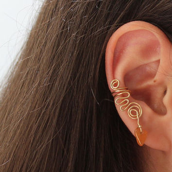 Ear Cuff, Red Aventurine Tangerine Gemstone Earring Boho Chic, Chakra Stone, Brass Wire Swirl Cuff, Spring time Mother's Day Gift for Her