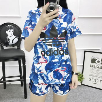 """""""Adidas"""" Women Sports Casual Letter Flamingo Print Short Sleeve Shorts Set Two-Piece S"""