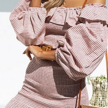 Rosy Cheeks Pink White Stripe Pattern Long Lantern Sleeve Off The Shoulder Ruffle Bodycon Casual Mini Dress