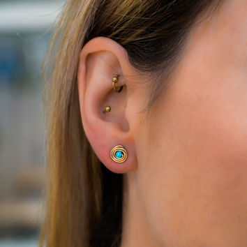 Gold Opal Earrings 14k Filled Simple Spiral