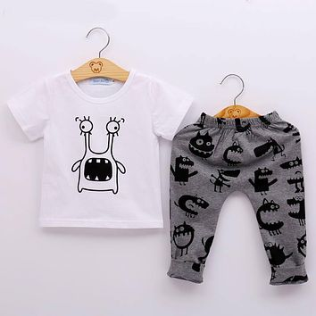 New Style Summer Baby Clothing Sets Boy Cotton Cartoon Short Sleeve 2Pcs Baby Boy Clothes Set