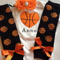 Baby Girl Basketball Outfit n- basketball legwarmers - newborn basketball outfit - personalized basketball baby outfit