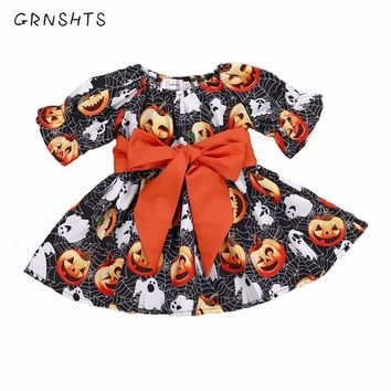 Halloween Toddler Baby Kid Girl Clothes Pumpkin Ghost Print Dress Party Pageant Bow Belt Kids Dresses For Girls Clothing Set