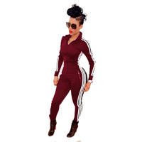 2016 Fashion Women Jumpsuits Rompers Ladies Long Sleeve Sport Playsuits Stripe Side Athletic Zipper Bodysuit Overalls macacao