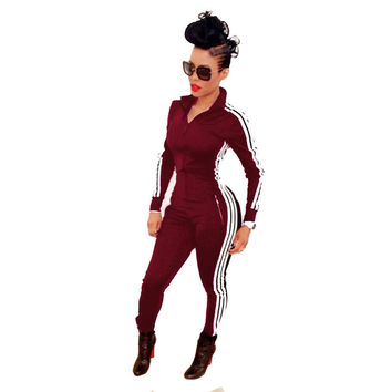 2017 Fashion Women Jumpsuits Rompers Ladies Long Sleeve Sport Playsuits Stripe Side Athletic Zipper Bodysuit Overalls macacao