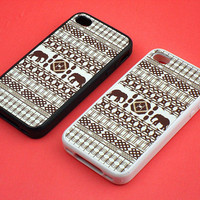 iphone 4 case - African  elephant, cute iphone 4 case, iphone 4S case in  silicone,color in black or white