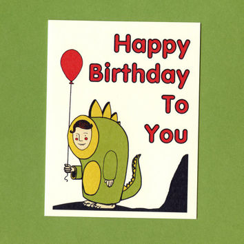 Cute Birthday Card - DINOSAUR BOY With BALLOON -  Cute Childs Birthday Card - Original Illustration - Birthday Card - Dinosaur Birthday Card