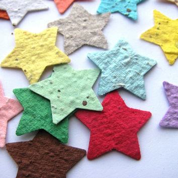 250 Plantable confetti STARS- choose from 16 colors- Wildflower blend