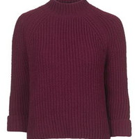 Boxy Turn Back Cuff Jumper - Berry Red