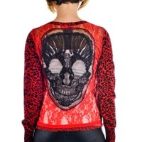 Women's Embroidered Cardigan - Skull
