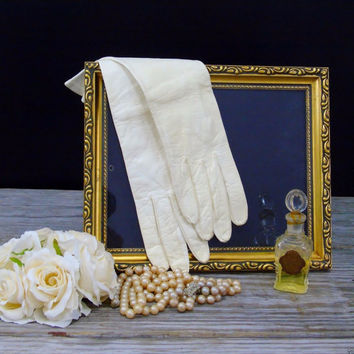 Kid Leather Gloves Womens Vintage 1950s New York Glove Co Cream Long Opera Church Gloves