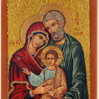 Holy Family - paint iconography art catholic religious gift for parents godparents grandparent family
