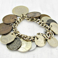 Vintage Travel Charm Bracelet, Gold Coin Charm Bracelet, Old Coin Jewelry, 1950s Rockabilly Jewelry, Gift for Traveler