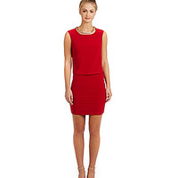 B. Darlin Necklace Sleeveless 2-fer Dress - Red/Gold