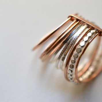 Grape X.2 - silver and 14kt rose Gold Filled rings, semainier