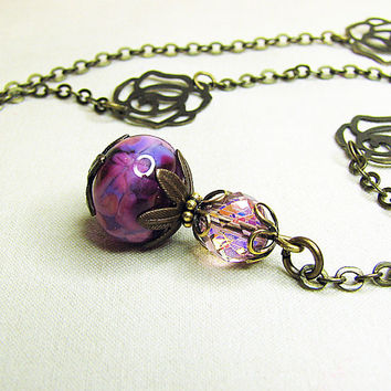 Purple orchid lampwork bead crystal pendant necklace Antique brass single strand chain Romantic beaded jewelry