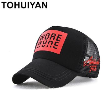 Trendy Winter Jacket TOHUIYAN Mens Trucker Hat Letters Print Casquette Baseball Cap Hip Hop Summer Mesh Hat Women Adjustable Gorras Bone Snapback Cap AT_92_12