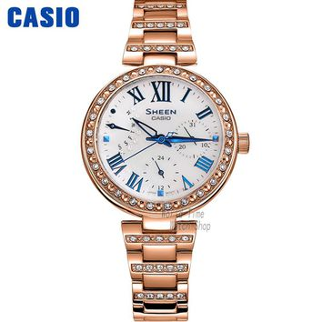 Casio watch Ladies watch fashion rhinestone quartz watch SHE-3043BPG-7A SHE-3043BSG-9A SHE-3043D-7A SHE-3043PG-7A SHE-3043PG-9A