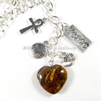 Tigers Eye Stone Heart Rearview Mirror Car Charm, Energy Healing Car Mirror Hanging, Tigers Eye Heart Car Ornament, Gifts Under 15