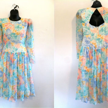 Vintage Dress- 80s Pretty Pastel Floral Print Dress with Sheer Sleeves/Party/Spring/Summer/Chiffon/Rainbow