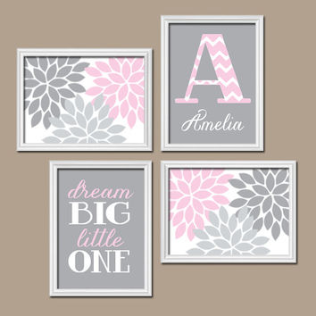 Pink Gray Wall Art Nursery Artwork Girl Child Floral Flower Custom Monogram Name Dream Big Monogram Set of 4 Prints  Baby Decor  Crib