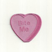 bite me anti conversation heart patch any color custom made