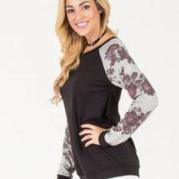 Floral Sleeve Pullover Sweater - Navy - Black - S