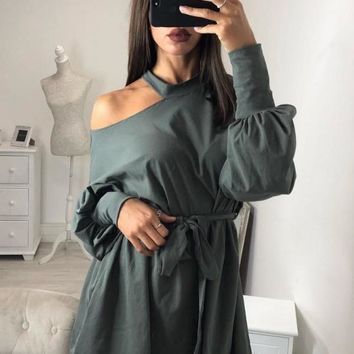 New Army Green Cut Out Sashes Long Sleeve Fashion Pullover Sweatshirt